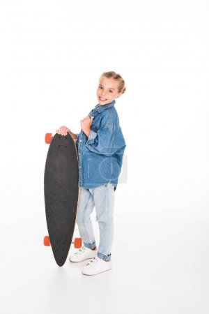 little smiling skateboarder