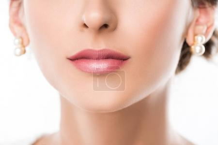 Photo for Cropped shot of beautiful female face with applied pink lipstick on lips - Royalty Free Image