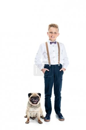 stylish boy with dog