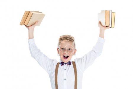 Boy holding books