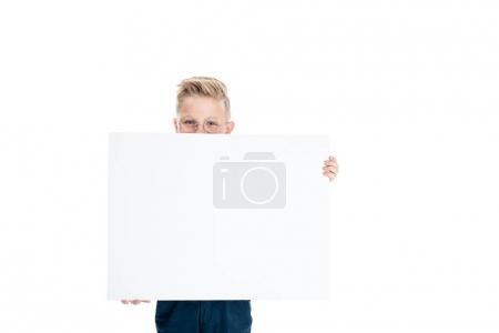 boy holding blank banner