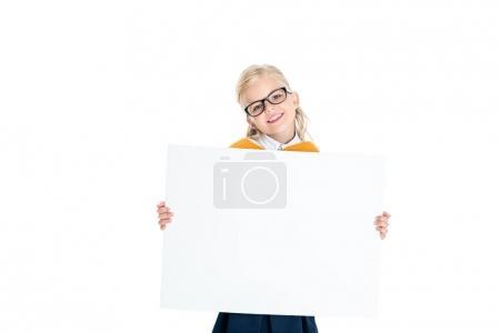 child holding blank banner