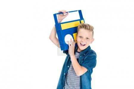Boy with paper tape recorder