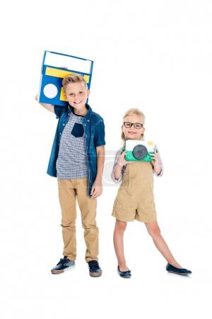 Kids with camera and tape recorder