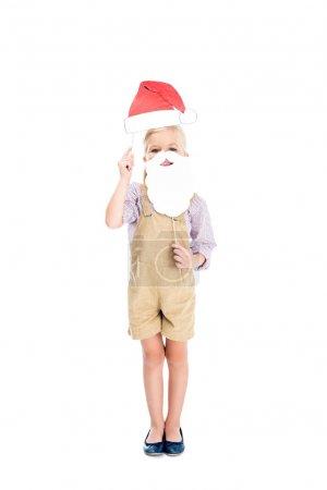 kid with santa hat and fake beard