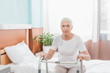 senior woman with walker in