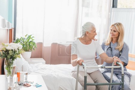 nurse and senior patient with