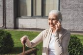 senior woman talking on smartphone