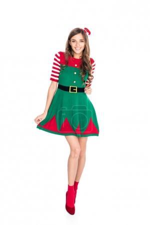 Photo pour Attrayant femme en costume d'elfe posant isolé sur blanc - image libre de droit
