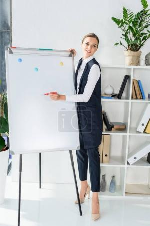 businesswoman writing on whiteboard
