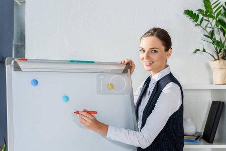 businesswoman writing on whiteboard