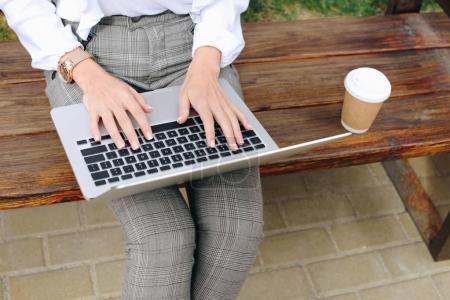 businesswoman working with laptop on bench