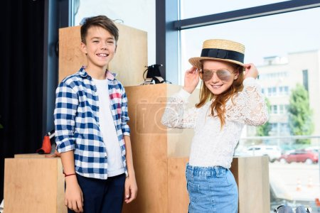 brother and sister in boutique