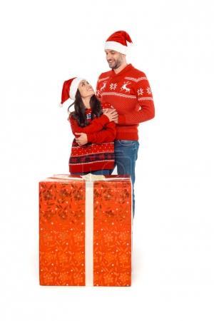 couple with big christmas present