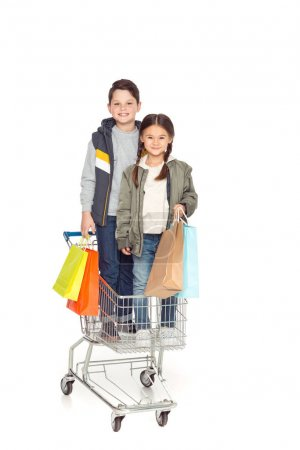 kids with shopping cart
