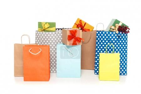 shopping bags with gifts