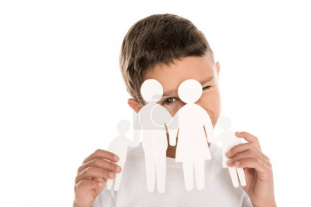 boy with family paper model
