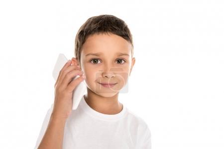 little boy talking on smartphone