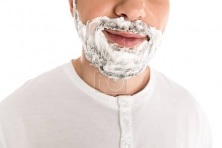 man in shaving foam