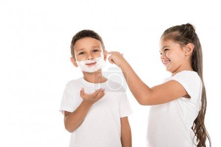 Boy in shaving foam