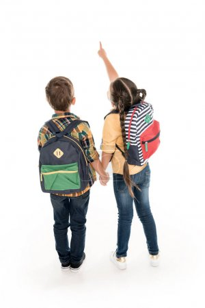 schoolchildren with backpacks