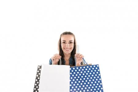 Photo for Attractive woman with shopping bags, isolated on white - Royalty Free Image