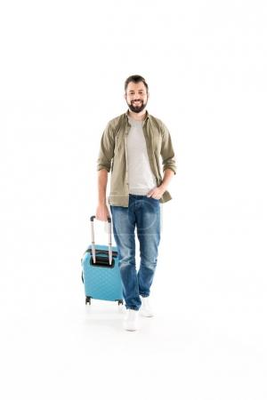 handsome man with suitcase