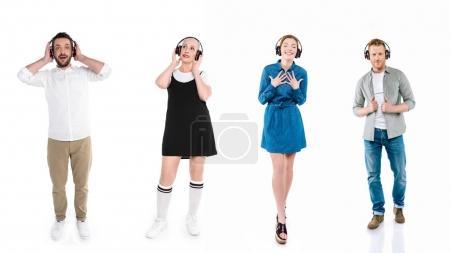 men and women in headphones