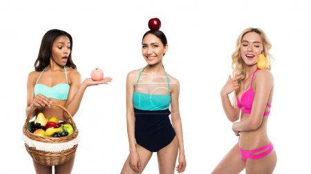 Multicultural women with fruits