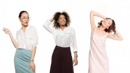 Photo for Portrait of stylish multiethnic women posing isolated on white - Royalty Free Image