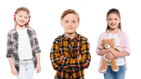 Photo for Portrait of smiling preteen children isolated on white - Royalty Free Image