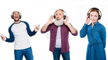 Multicultural people in headphones