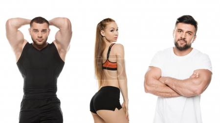 Photo for Portrait of athletic men and woman in sportswear looking at camera isolated on white - Royalty Free Image