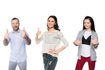 Photo pour Portrait de gens heureux montrant pouces vers le haut isolé sur blanc - image libre de droit