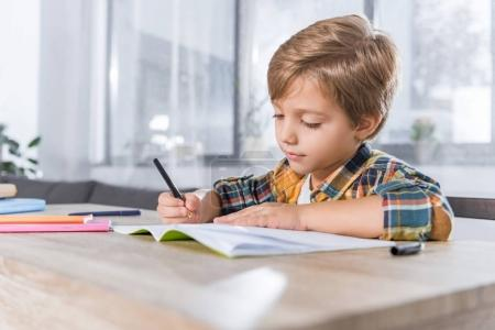 little schoolboy doing homework