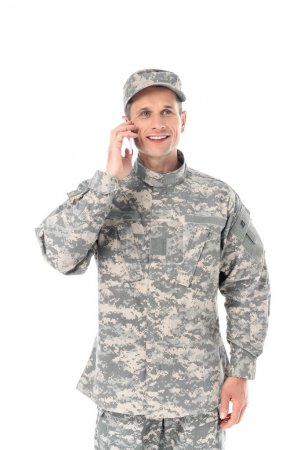 military man in talking by phone