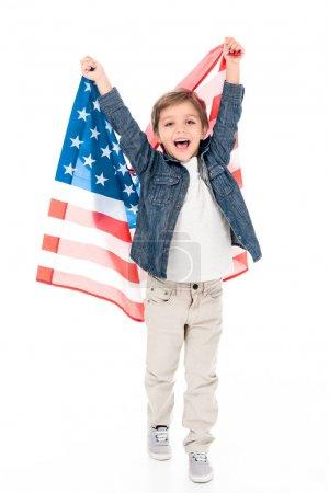 little boy with usa flag