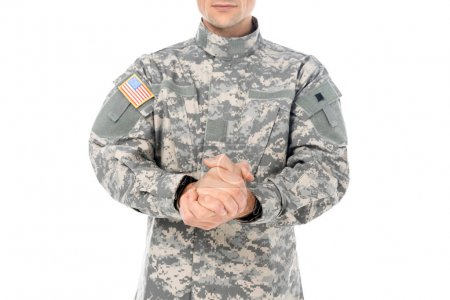 military man in usa camouflage uniform