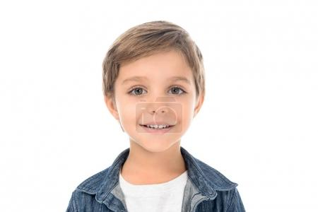Photo for Portrait of cute smiling little boy looking at camera isolated on white - Royalty Free Image