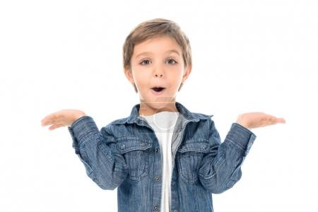 Photo for Portrait of excited little boy with outstretched arms looking at camera isolated on white - Royalty Free Image