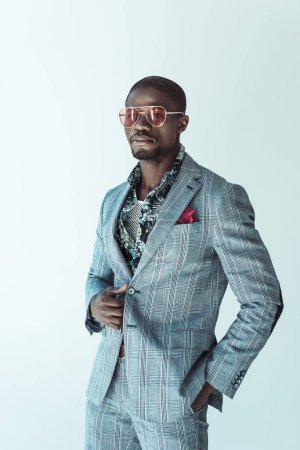 African american man in fashionable suit