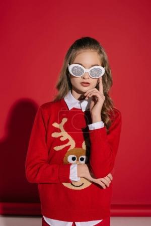 Teenage girl in glittering glasses