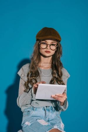 teenage girl with digital tablet