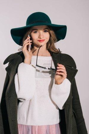 stylish teenage girl with smartphone