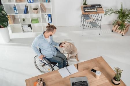 Photo pour Vue grand angle homme handicapé fauteuil roulant caresser son chien - image libre de droit