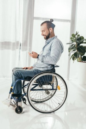 disabled man listening music
