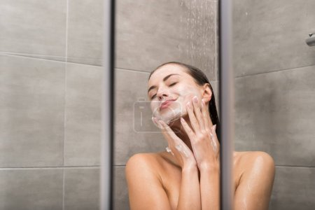 Girl washing face