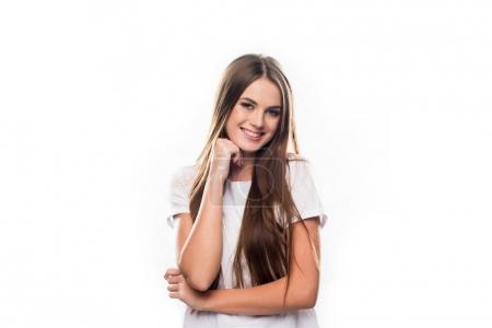 Photo for Portrait of smiling girl looking at the camera isolated on white - Royalty Free Image