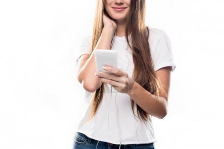 girl listening to music with smartphone