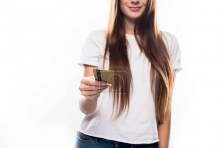 girl holding credit card in hand